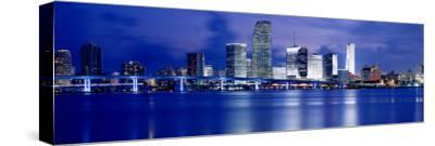 Panoramic View of an Urban Skyline at Night, Miami, Florida, USA-Paula Scaletta-Stretched Canvas Print