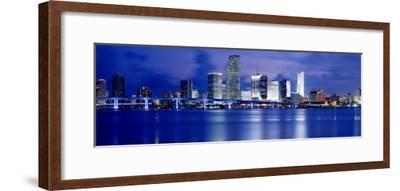 Panoramic View of an Urban Skyline at Night, Miami, Florida, USA-Paula Scaletta-Framed Photographic Print