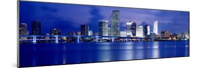 Panoramic View of an Urban Skyline at Night, Miami, Florida, USA-Paula Scaletta-Mounted Photographic Print