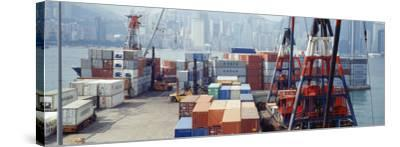 Shipping Containers, Victoria Harbor, Hong Kong, China--Stretched Canvas Print