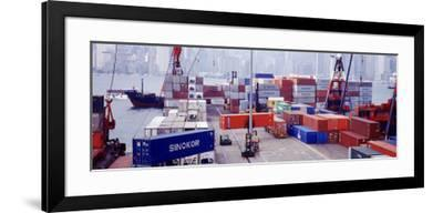 Shipping Containers, Victoria Harbor, Hong Kong, China--Framed Photographic Print