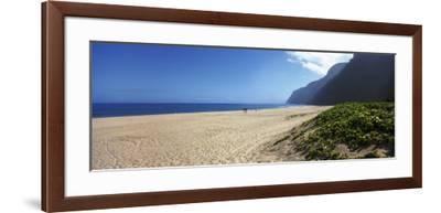 Mountain on the Beach, Pouhale Beach, Kauai, Hawaii, USA--Framed Photographic Print