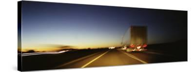 Rear View of Truck on a Two Lane Highway, Las Cruces, New Mexico, USA--Stretched Canvas Print