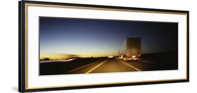 Rear View of Truck on a Two Lane Highway, Las Cruces, New Mexico, USA--Framed Photographic Print