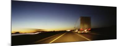 Rear View of Truck on a Two Lane Highway, Las Cruces, New Mexico, USA--Mounted Photographic Print