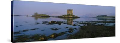 Reflection of a Castle in Water, Castle Stalker, Highlands, Scotland, United Kingdom--Stretched Canvas Print
