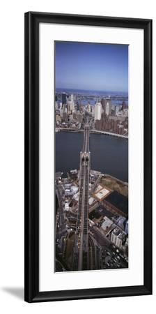 Aerial View of a Bridge, Brooklyn Bridge, Manhattan, New York City, New York State, USA--Framed Photographic Print