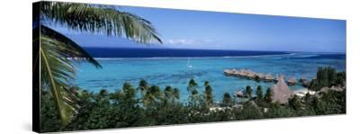 High Angle View of Beach Huts, Kia Ora, Moorea, French Polynesia--Stretched Canvas Print