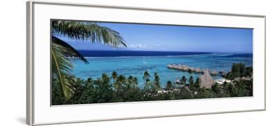 High Angle View of Beach Huts, Kia Ora, Moorea, French Polynesia--Framed Photographic Print