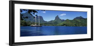 Sailboats Sailing in the Ocean, Opunohu Bay, Moorea, French Polynesia--Framed Photographic Print