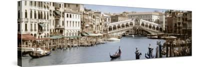 Bridge Over a Canal, Rialto Bridge, Venice, Veneto, Italy--Stretched Canvas Print