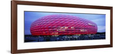 Soccer Stadium Lit Up at Dusk, Allianz Arena, Munich, Germany--Framed Photographic Print