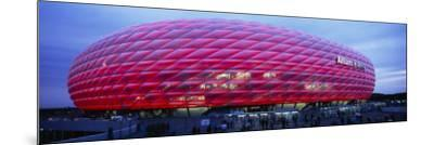 Soccer Stadium Lit Up at Dusk, Allianz Arena, Munich, Germany--Mounted Photographic Print