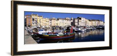 Boats Moored at a Dock, St. Tropez, Provence, France--Framed Photographic Print