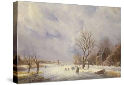 Winter Canal Scene-Jan Lynn-Stretched Canvas Print