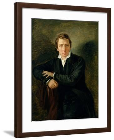 Portrait of Heinrich Heine 1831-Moritz Daniel Oppenheim-Framed Giclee Print