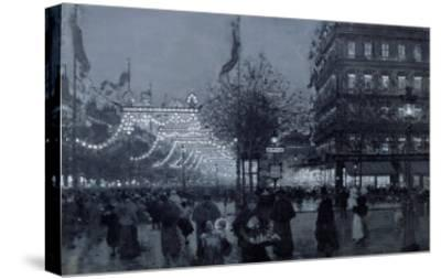 The Grands Boulevards, Paris, Decorated for the Celebration of the Franco-Russian Alliance in 1893-Luigi Loir-Stretched Canvas Print