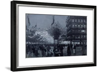 The Grands Boulevards, Paris, Decorated for the Celebration of the Franco-Russian Alliance in 1893-Luigi Loir-Framed Giclee Print