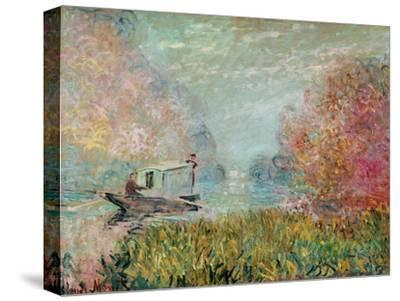 The Boat Studio on the Seine, 1875-Claude Monet-Stretched Canvas Print