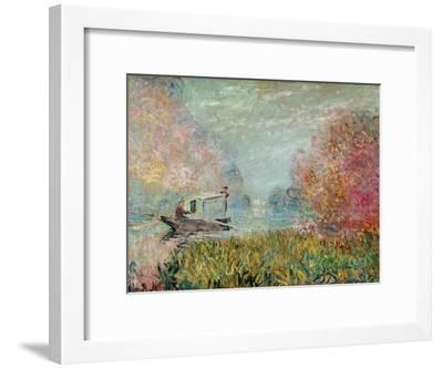 The Boat Studio on the Seine, 1875-Claude Monet-Framed Giclee Print