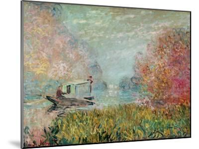 The Boat Studio on the Seine, 1875-Claude Monet-Mounted Giclee Print