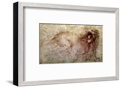 Sketch of a Roaring Lion-Leonardo da Vinci-Framed Premium Giclee Print