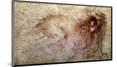Sketch of a Roaring Lion-Leonardo da Vinci-Mounted Premium Giclee Print