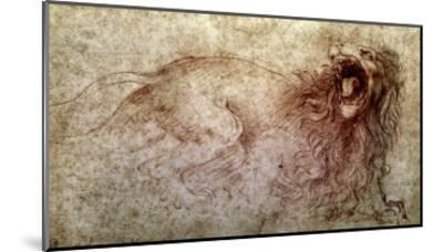 Sketch of a Roaring Lion-Leonardo da Vinci-Mounted Giclee Print
