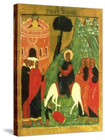 Icon Depicting Christ's Entry into Jerusalem--Stretched Canvas Print