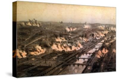 Panorama of the Fires in Paris During the Commune, May 1871-E. Daroy-Stretched Canvas Print