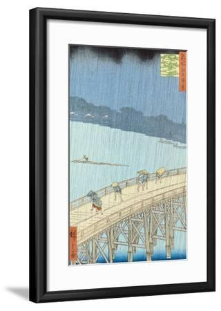"Sudden Shower on Ohashi Bridge at Ataka, from the Series ""100 Views of Edo"", 1857-Ando Hiroshige-Framed Giclee Print"