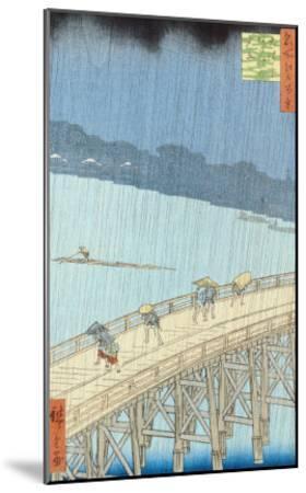 "Sudden Shower on Ohashi Bridge at Ataka, from the Series ""100 Views of Edo"", 1857-Ando Hiroshige-Mounted Giclee Print"