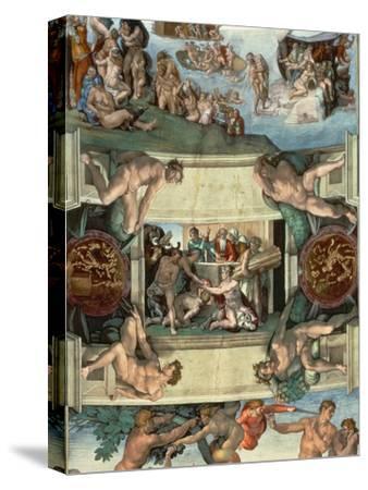 Sistine Chapel Ceiling : the Sacrifice of Noah, 1508-10-Michelangelo Buonarroti-Stretched Canvas Print