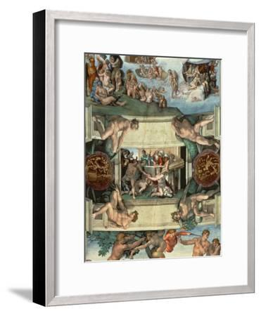 Sistine Chapel Ceiling : the Sacrifice of Noah, 1508-10-Michelangelo Buonarroti-Framed Giclee Print