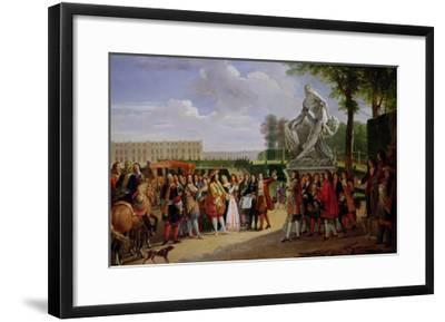 """Louis XIV Dedicating Puget's """"Milo of Crotona"""" in the Gardens at Versailles, 1819-Anicet-Charles Lemonnier-Framed Giclee Print"""