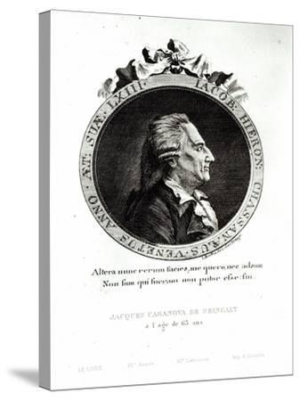 Medallion Portrait of Giacomo Casanova Age 63, 1788-Johann Berka-Stretched Canvas Print