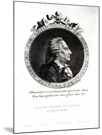 Medallion Portrait of Giacomo Casanova Age 63, 1788-Johann Berka-Mounted Giclee Print