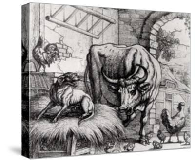 "Illustration for ""The Dog and the Ox"", from Aesop's Fables, 1666-Francis Barlow-Stretched Canvas Print"