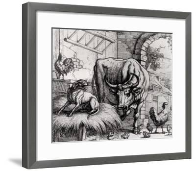 "Illustration for ""The Dog and the Ox"", from Aesop's Fables, 1666-Francis Barlow-Framed Giclee Print"