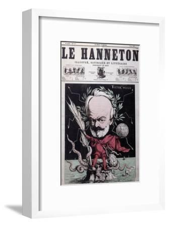 """Caricature of Victor Hugo as Zeus in Exile on Guernsey from the Front Cover Of""""Le Hanneton""""-G^ Deloyoti-Framed Giclee Print"""