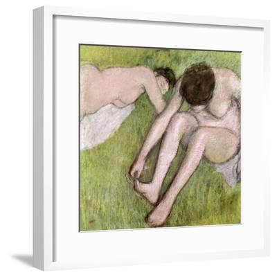 Two Bathers on the Grass, circa 1886-90-Edgar Degas-Framed Giclee Print
