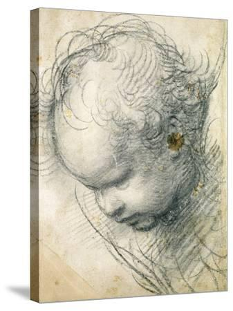 Head of a Cherub-Raphael-Stretched Canvas Print