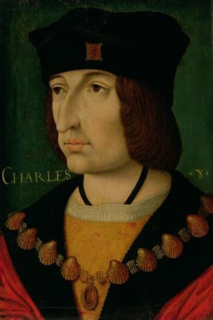 Portrait of Charles VIII King of France-Jean Bourdichon-Stretched Canvas Print
