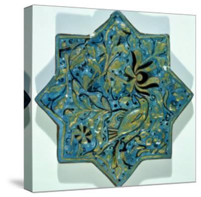 Star-Shaped Overglaze Leaf-Gilded Tile in the Style of Takht-E Solaiman, 13th-14th Century--Stretched Canvas Print