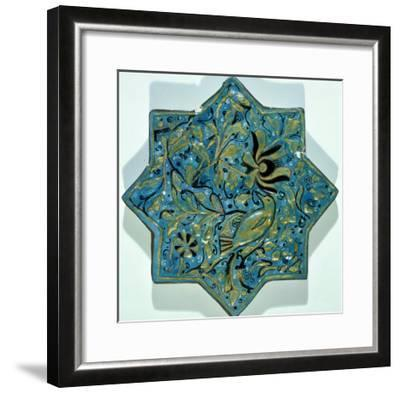 Star-Shaped Overglaze Leaf-Gilded Tile in the Style of Takht-E Solaiman, 13th-14th Century--Framed Giclee Print