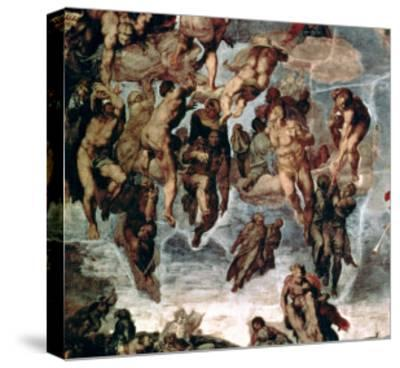 """The Righteous Drawn up to Heaven, Detail from """"The Last Judgement""""-Michelangelo Buonarroti-Stretched Canvas Print"""
