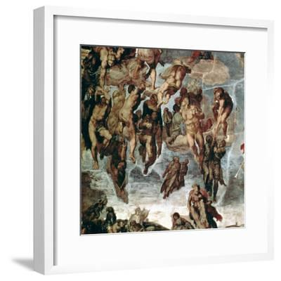 """The Righteous Drawn up to Heaven, Detail from """"The Last Judgement""""-Michelangelo Buonarroti-Framed Giclee Print"""