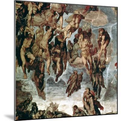 """The Righteous Drawn up to Heaven, Detail from """"The Last Judgement""""-Michelangelo Buonarroti-Mounted Giclee Print"""