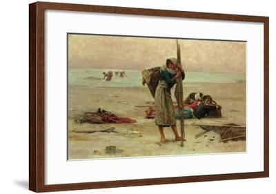 Oyster Catching, 1884-Pierre Celestin Billet-Framed Giclee Print