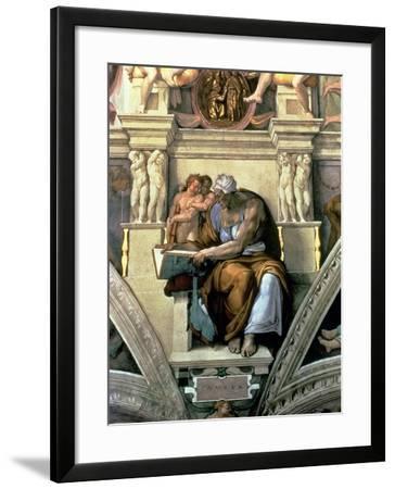 Sistine Chapel Ceiling: Cumaean Sibyl, 1510-Michelangelo Buonarroti-Framed Giclee Print
